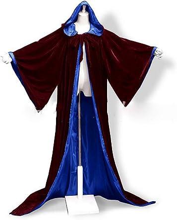 Black Long Wicca Robe Hooded Cloak Cape Wedding Halloween Coat Costumes Medieval