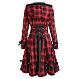 Womens Hooded Trench Coat Steampunk Lace UpJacket