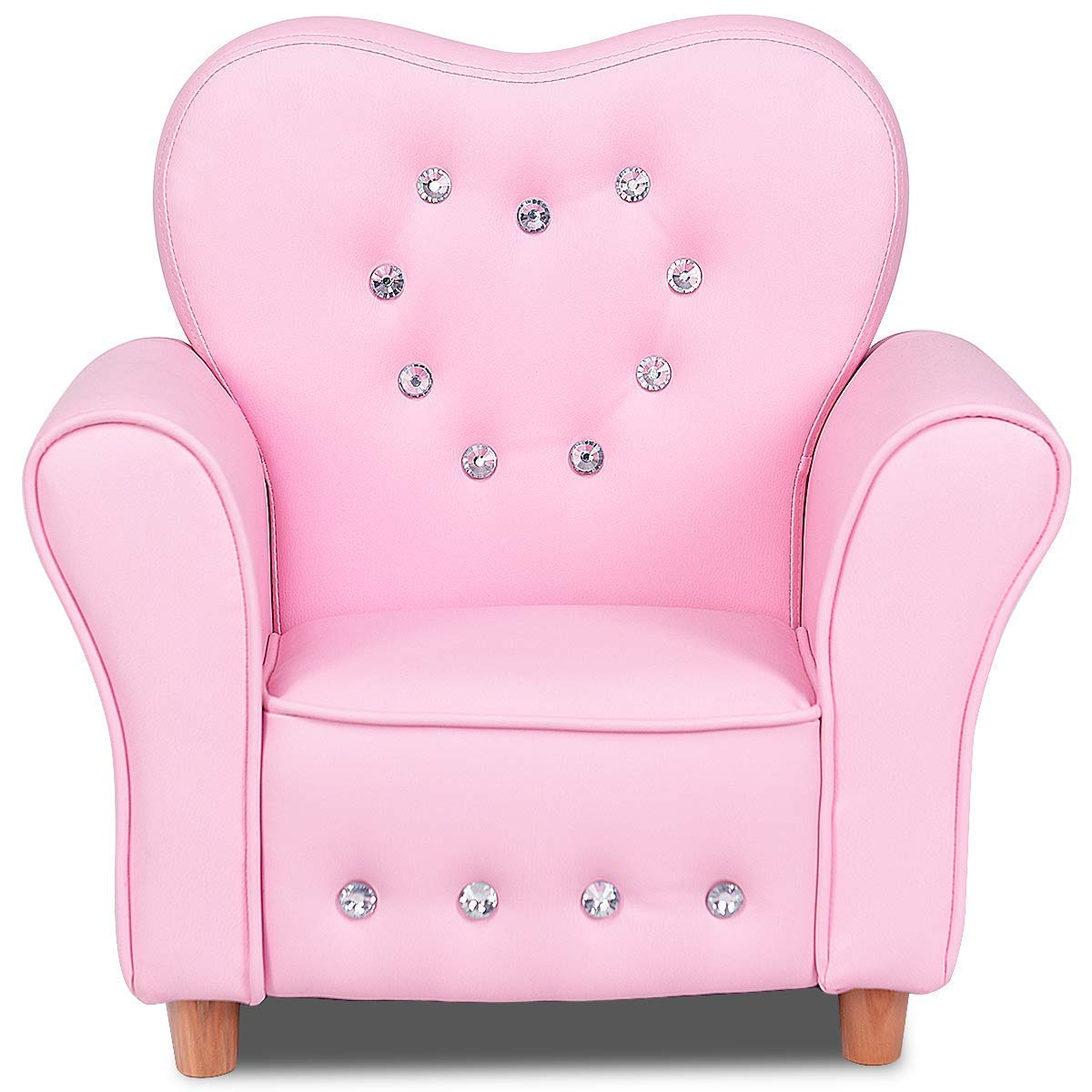 Costzon Kids Sofa, PU Leather Upholstered Armrest Chair, Sturdy Wood Construction, Crystal Embedded, Perfect for Preschool Girls, Pink (22-Inch Single Sofa) by Costzon