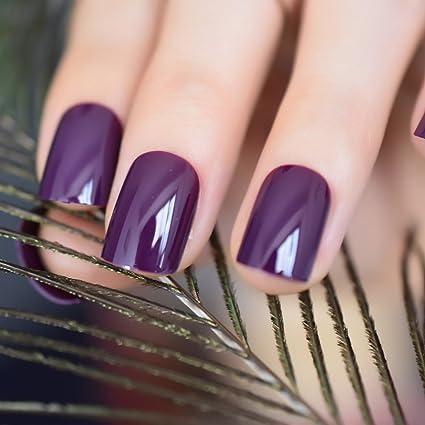 EchiQ - Uñas postizas de acrílico morado profundo para decoración de uñas, redondas, cuadradas