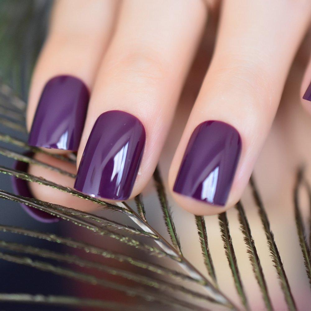 CoolNail Dark Violet False Fake Nail Tips Deep Purple Acrylic UV Nails Art Decoration Round Square