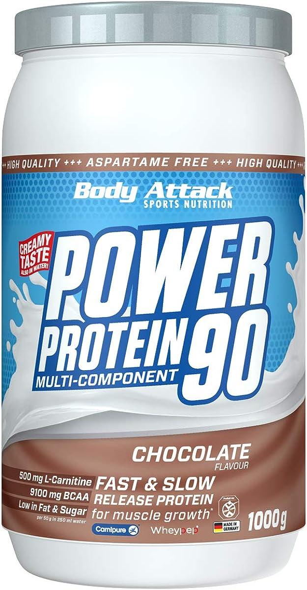 Body Attack Power Protein 90, Crema de chocolate, 1 kg, 5 K de proteína en polvo con proteína de suero, L-carnitina y BCAA para el desarollo de los ...