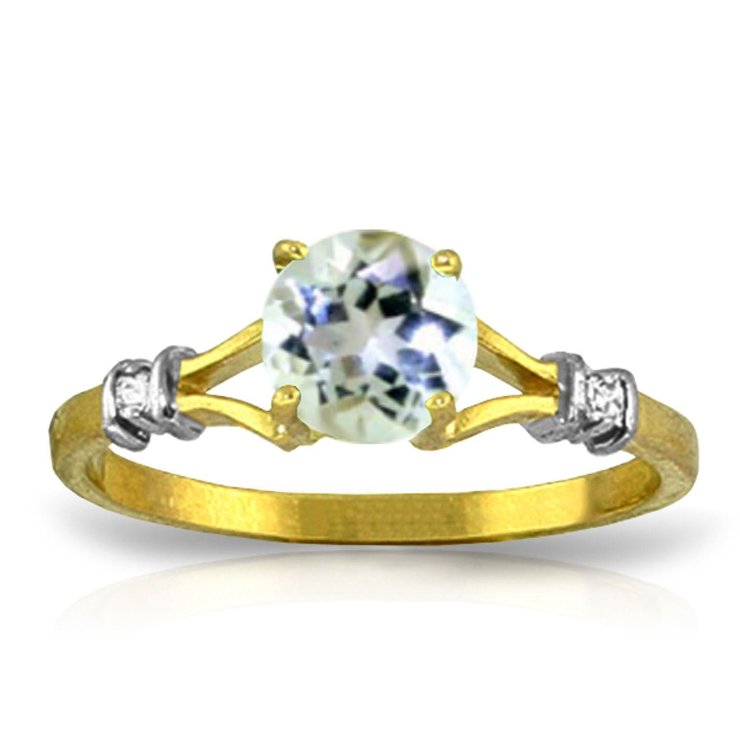 ALARRI 1.02 CTW 14K Solid Gold Visible Love Aquamarine Diamond Ring With Ring Size 8