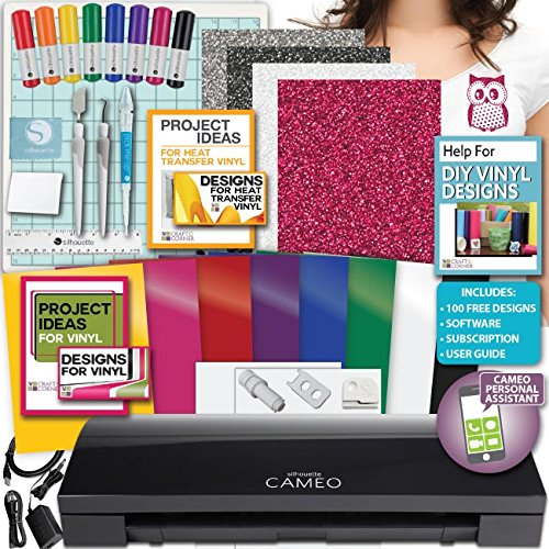 Black Silhouette Cameo 3 Machine Bundle 2 -8 Oracal Vinyl Tools Design Siser HTV by Silhouette America