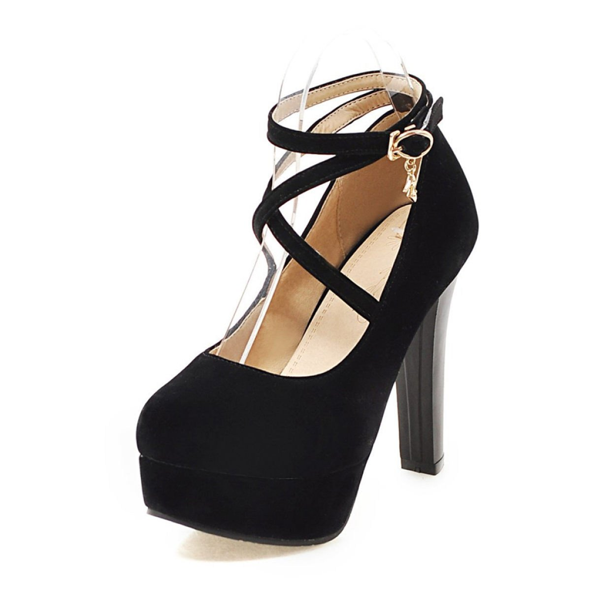 Damenschuhe Frühling Damen Knopf High Heels Starke Ferse Flacher Plattformen Flacher Ferse Mund Sommer Schuhe schwarz 204390