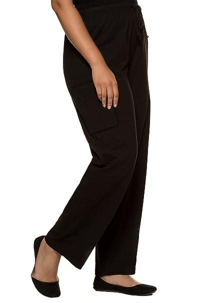 Ulla Popken Femme Grandes Tailles Pantalon de Jogging élastiqué, mélangé  Coton Noir 44 46 3903efe4b24a