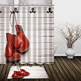 LB Red Boxing Shower Curtain Wood Barn Door 72x72inch Anti Bacterial Waterproof Polyester Fabric Bathroom Decor with Hooks,High Absorbent Bath Mat (2478)