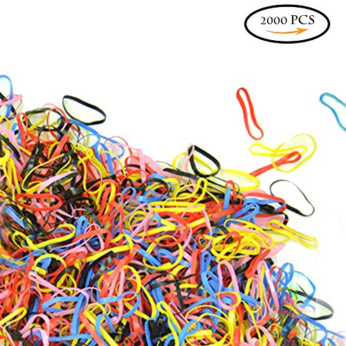 2000 Mini Rubber Bands black red pink blue Soft Hair Elastics Braiding 2mm hair Bands for gils baby men woman Hair, Small Dreadlocks, Wedding Hairstyle and More -