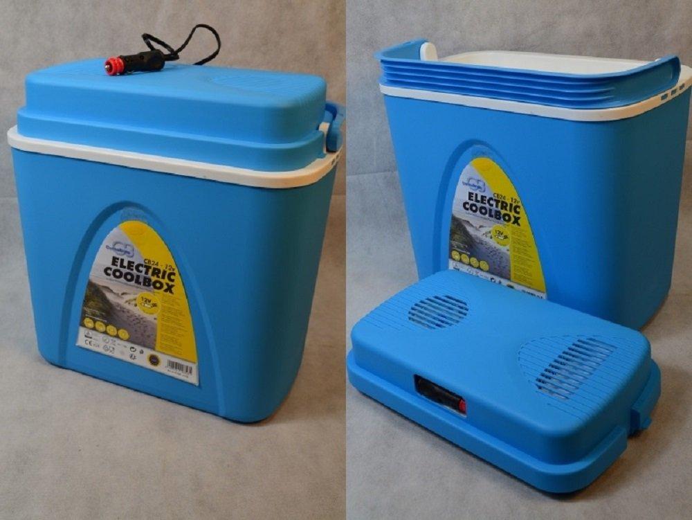 Elektro Kühlbox 22L Betrieb 12 V Kühltasche KFZ Auto Tasche Blau Grillfeier <br> Abmessungen: ( B/H/T ) ca. 40 x 40 x 25 cm