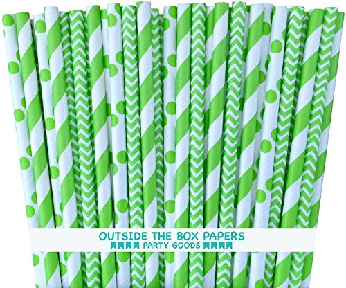 Outside the Box Papers Lime Green Stripe, Chevron and Polka Dot Paper Straws 7.75 Inches 75 Pack Lime Green, White