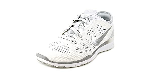 NIKE Women's Free 5.0 Tr Fit 5 WhiteMetallic SilverPr Pltnm Training Shoe 12 Women US