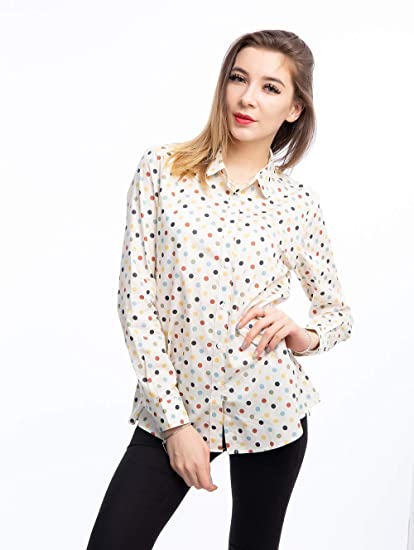 a6a3c8d8a88 KIMIST Women s Tops Feminine Long Sleeve Polka Dotted Button Down Casual  Dress Blouses Shirts at Amazon Women s Clothing store
