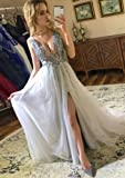 2019 Sexy Gray Prom Dresses with Deep V Neck