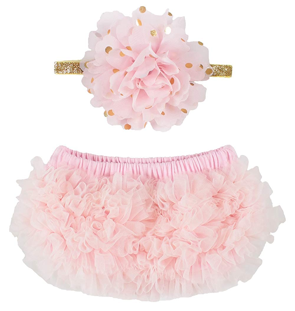 OoSweetCharlotteoO 2pcs Baby Girl Chiffon Bloomer & Headband Set Newborn Photo Prop Baby Girl Cake Smash Outfit