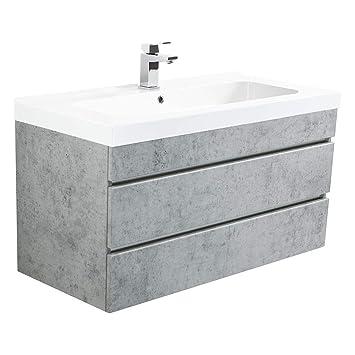 Lomadox Badezimmer Waschtisch Set Mit Unterschrank In Beton