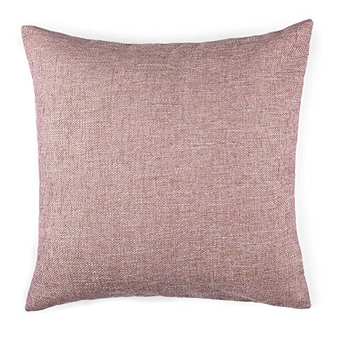 Homier Pink Color Linen Blend Decorative Pillow Cover Throw Cushion Case - Pink/Rose/Blush Tweed with Modern White/Cream Accent Linen Canvas Back - Large, 20 x 20 Inches - Rose Decorative Pillows