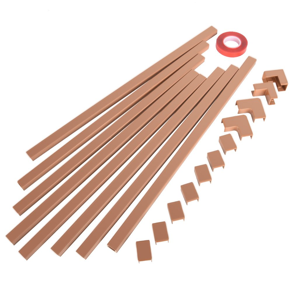 One-Cord Channel Cable Concealer - CMC-03 Mini Cover Cable Management System - 125'' Raceway Kit for Hiding a Single Ethernet Cable, Speaker Wire, Floor Lamp Cord - 8X L15.6in, W0.59in H0.39in, Brown