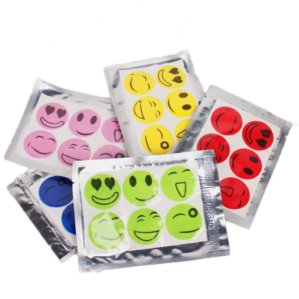 Juego de 60 Pegatinas repelentes de Insectos antimosquitos para Cara Sonriente Color al Azar collectsound