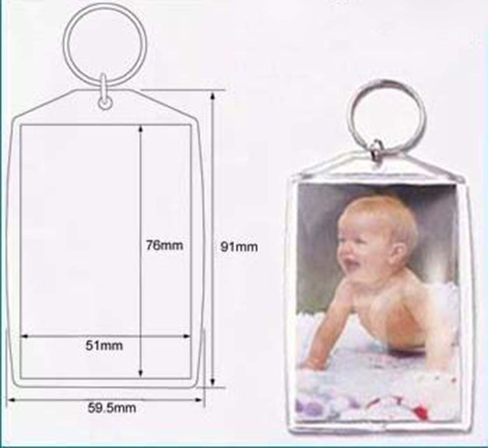 50 Pcs of Blank Clear Acrylic Keyring 51x76mm (approx. 2 x 3 inches) Photo Insert Craft Keychain 99808