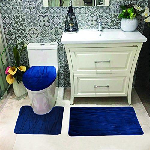 Toilet Lid Cover Contour Rug Bath Mat 3-PC Geometric Bathroom Rug Set