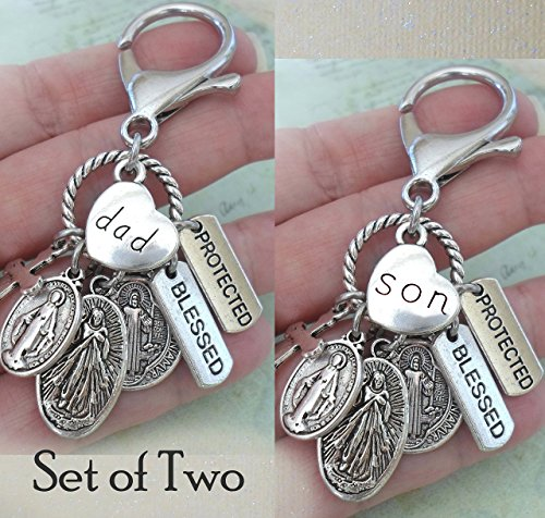 Amulet Zipper Pull - Dad and Son, Set of Two Keychains or Backpack Clips, Travel Amulets, Blessed, Protected, St. Benedict, Jesus, Catholic Men's and Boys Gift for Father and Son