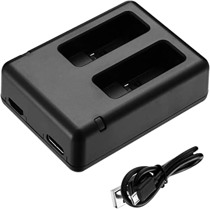 Black Dual Battery Charger for GoPro HERO5 with Type-C /& Micro USB Port Includes 3.3ft Micro USB Charging Cable