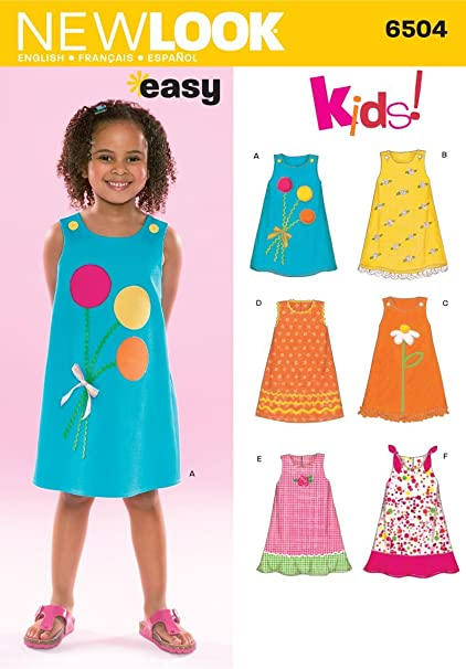 4bc7a5cd95781a Amazon.com: New Look Sewing Pattern 6504 Child Dresses, Size A  (3-4-5-6-7-8): Arts, Crafts & Sewing