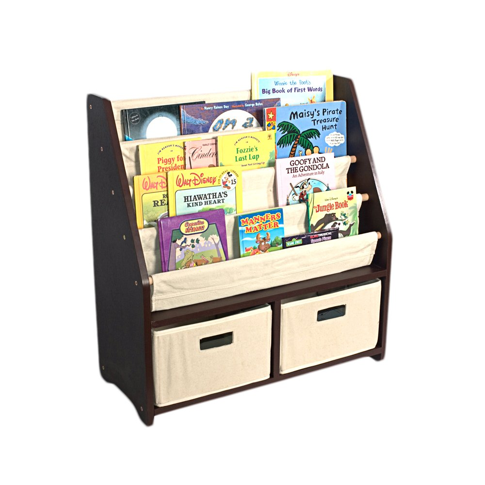 Children Bookshelf Espresso WonkaWoo Deluxe Childrens Sling Bookshelf
