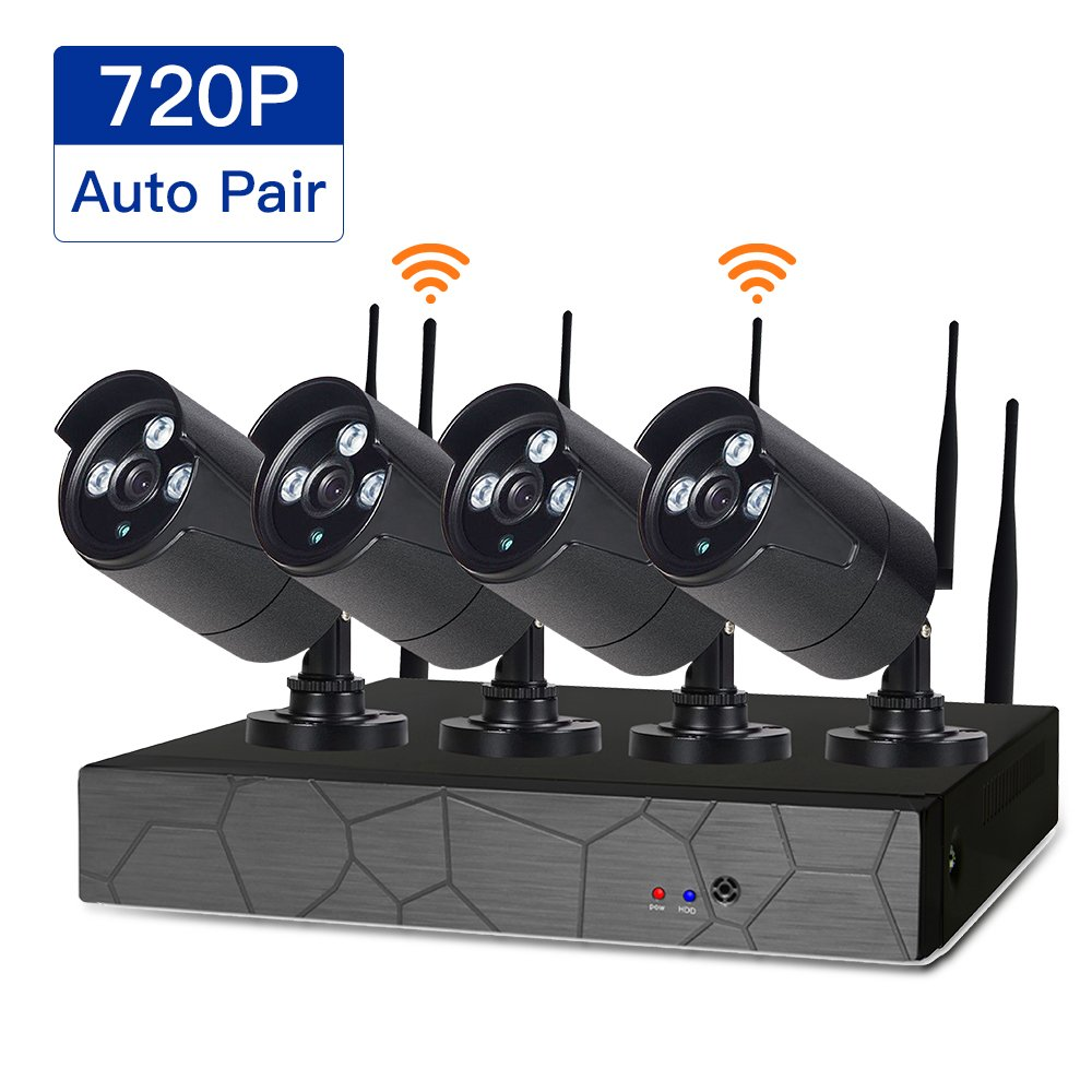 SDETER Security Camera System Wireless HD Outdoor Home Surveillance System 4 Security Cameras NVR Kits Remote View Motion Dectection and Night Vision