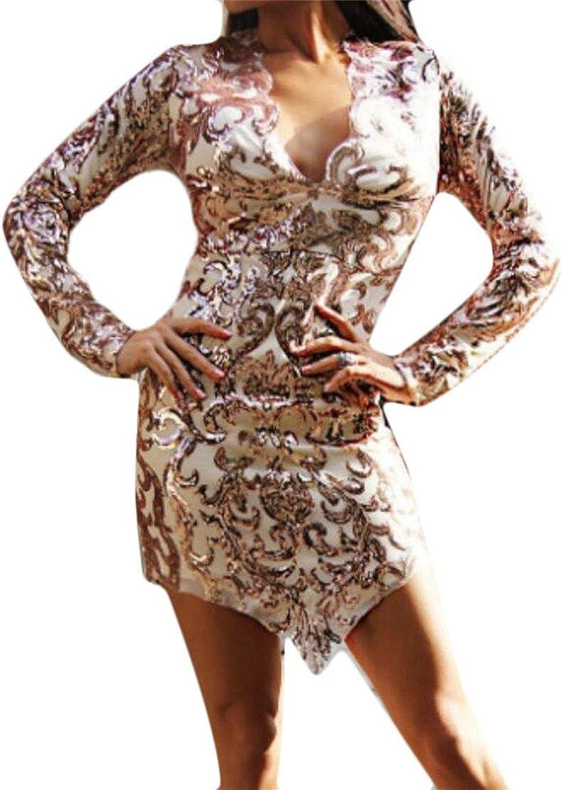 Hurrg Womens V-Neck Sequins Irregular Stretchy Bodycon Club Mini Dress