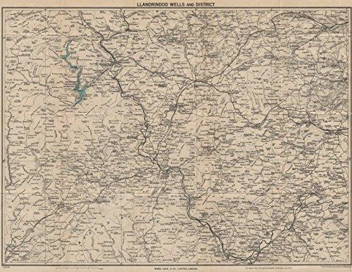 - BUILTH & LLANDRINDOD WELLS. Rhayader Presteigne Knighton Radnor Forest - 1948 - old map - antique map - vintage map - Wales maps