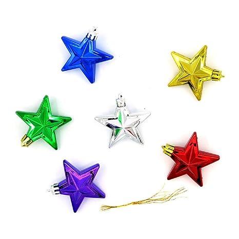 Stella Di Natale A 6 Punte.Sei Stella A Cinque Punte Natale Ornamenti Dorati Regali Di Natale