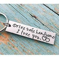 BEESCLOVER Stainless Steel Drive Safe Handsome I Love You Engraved Keychain Keyring for Husband Boyfriend Gift