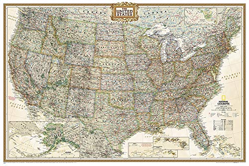 National Geographic: United States Executive Wall Map (36 x 24 inches) (National Geographic Reference Map)