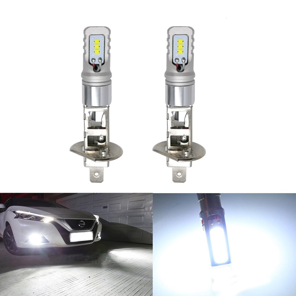 Car Driving LED Lights Bulbs H1 CSP Chip Auto Replacement for Fog Light Long Lifespan over 30, 000hs Extremely Bright LED Bulb Lamp 1600lm -Pack of 2(White) (H1)