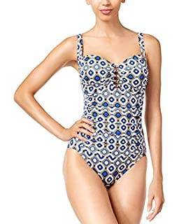 a327f924f4c00 Swim Solutions Jewels Printed Tummy-Control One-Piece Swimsuit, Blue, Size  14