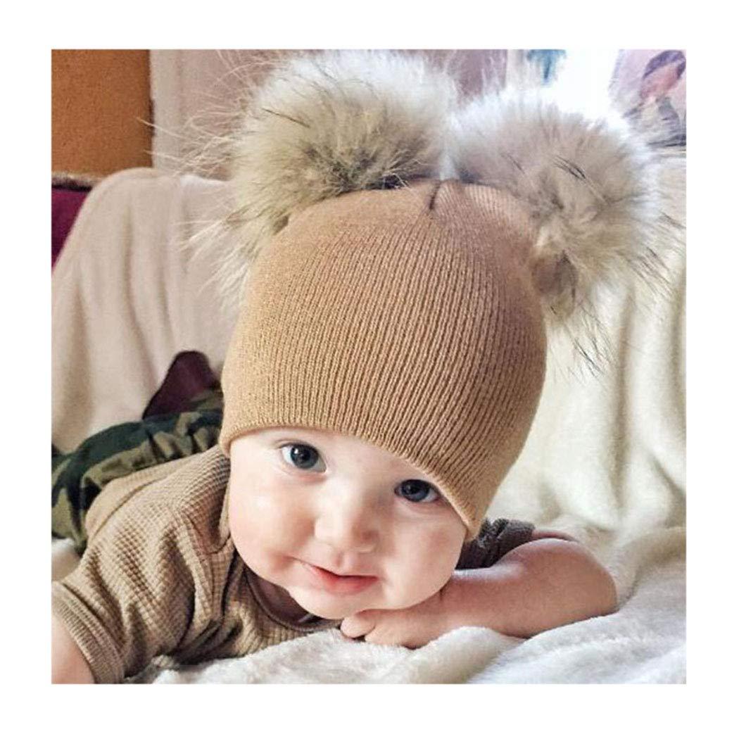 cd6a6f15622cb Barogirl Kids Winter Knit Beanie Hats Baby Toddler Cable Knit Faux Fur Pom  Pom Hat Bobble Ski Cap