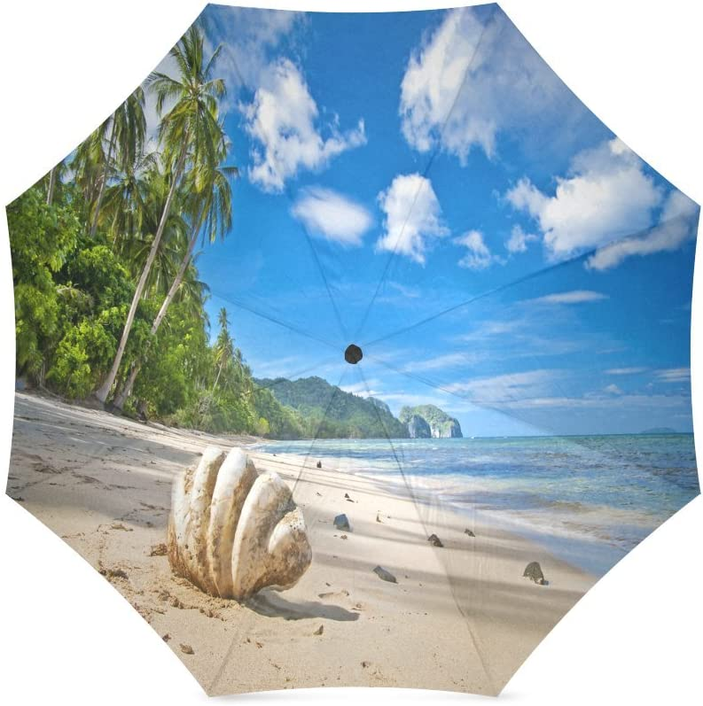 Custom Seashells Starfish Seabeach Compact Travel Windproof Rainproof Foldable Umbrella