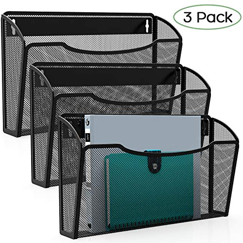 MaxGear 3 Pack Wall File Holder Hanging Wall Files Organizer Wall Hanging File Folders Mail Basket Wall Pocket Organizers Wall Mounted File Holders for Home and Office, Mesh Steel, Black