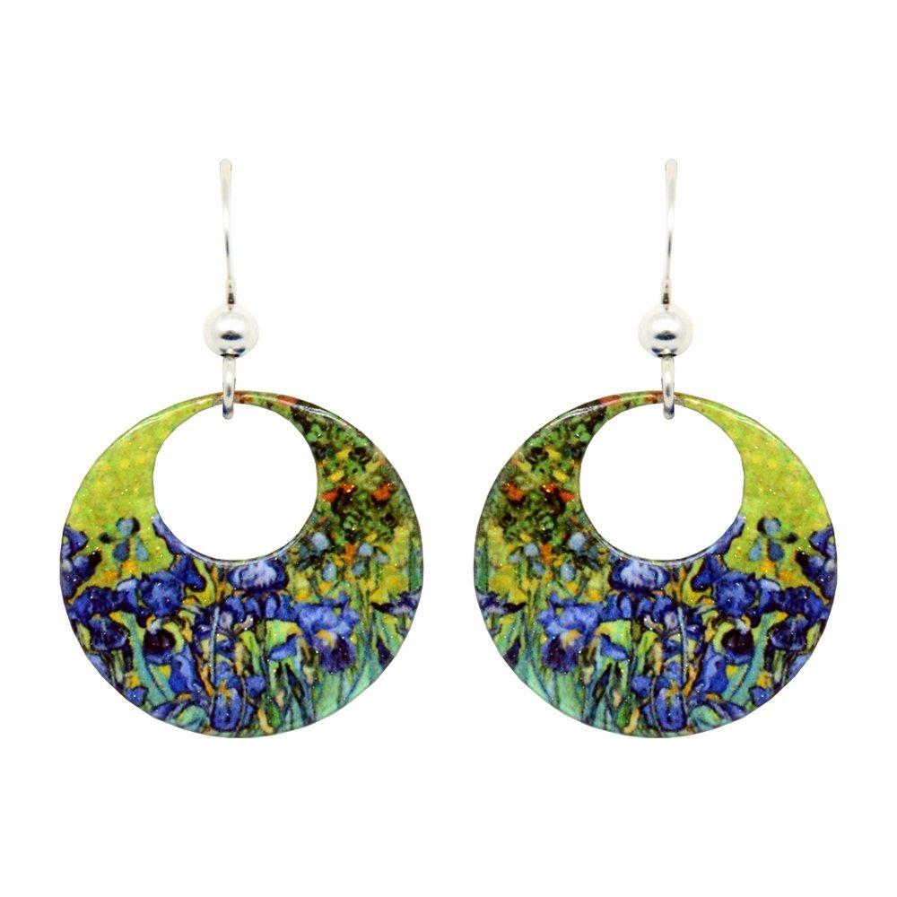 Irises Van Gogh Earrings by dears Non-Tarnish Sterling Silver French Hook Ear Wire
