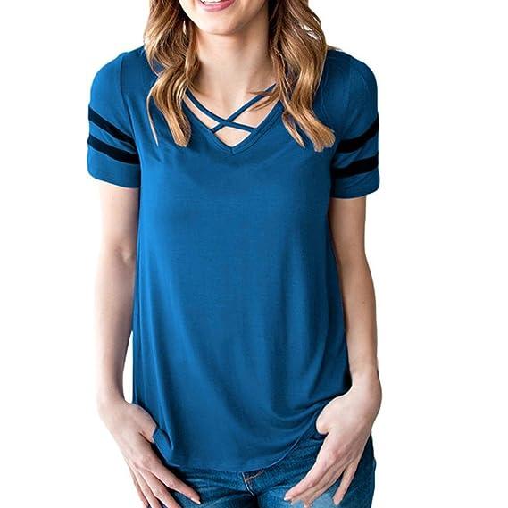 Cinnamou Camiseta de manga corta raya Con parte delantera cruzada de moda para mujer Tops de