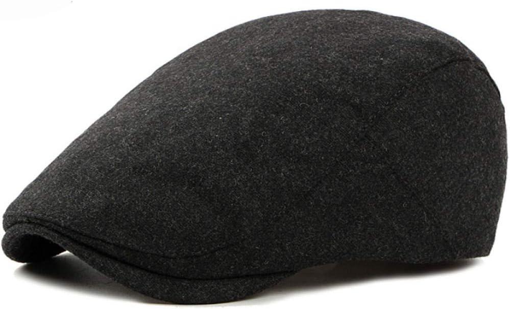 Boinas para hombres nuevos sombreros de invierno de oto/ño para mujeres Llanura S/ólido Negro Gris Gorra plana Moda Lana Cabbie Gastby Ivy Hat Western Men Boina Gorra @ Borgo/ña Boinas para mujeres