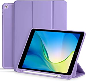 Akkerds Case for iPad 10.2 2020 iPad 8th Generation/2019 iPad 7th Generation with Pencil Holder, Premium Protective Case with Soft TPU Back, Auto Sleep/Wake Cover for iPad 8th/7th Gen, Lavender