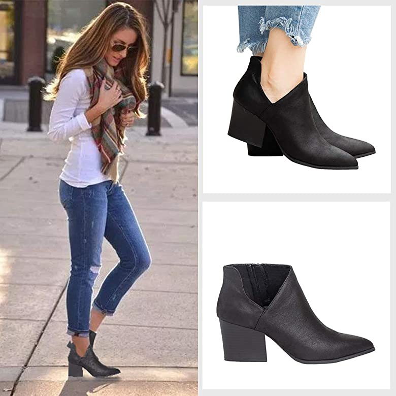 Women Ankle Boots Winter High Thick Square Heel Pointed Toe Booties Shoes Side Zip Party Dressy Shoes by Nevera