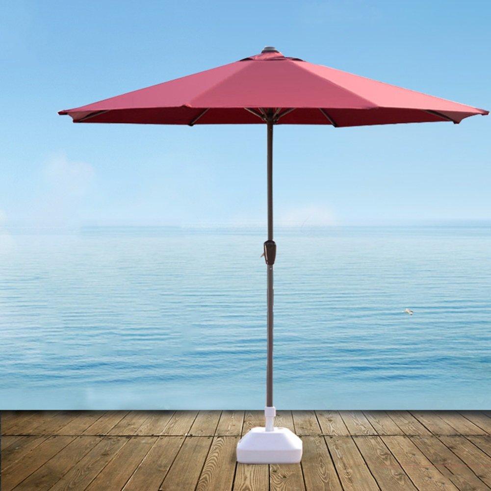屋外パラソル傘市場パティオガーデン芝テーブルサンキャノピー鉄柱傘UV保護 (色 : ワインレッド) B07D34DFK5 ワインレッド ワインレッド