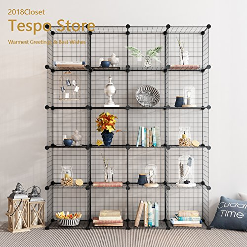 Bookcase Wall System (Tespo Metal Wire Storage Cubes, Modular Shelving Grids, DIY Closet Organization System, Bookcase, Cabinet, (20 - Regular Cube))