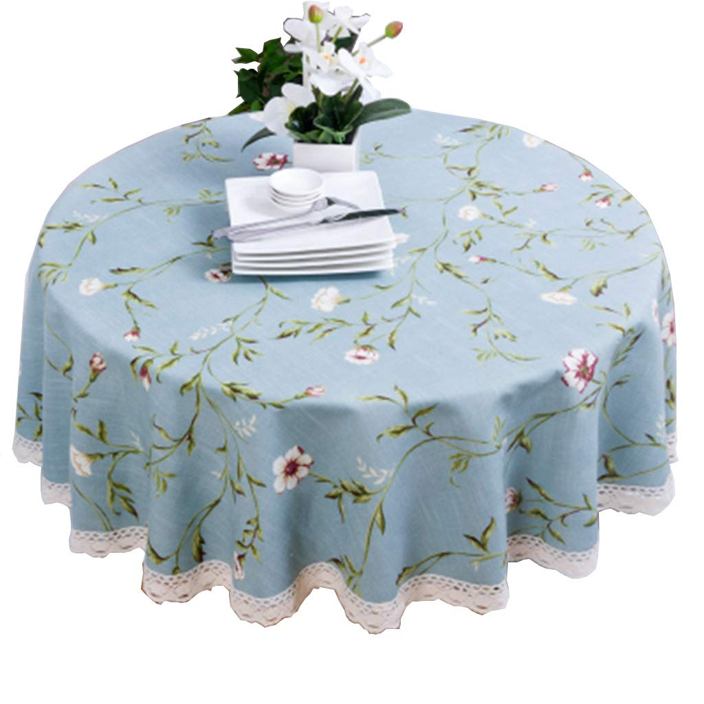190cm Nappe ronde en coton et lin Restaurant de cuisine Nappe de table imperméable, intérieure ou extérieure (taille   220cm)