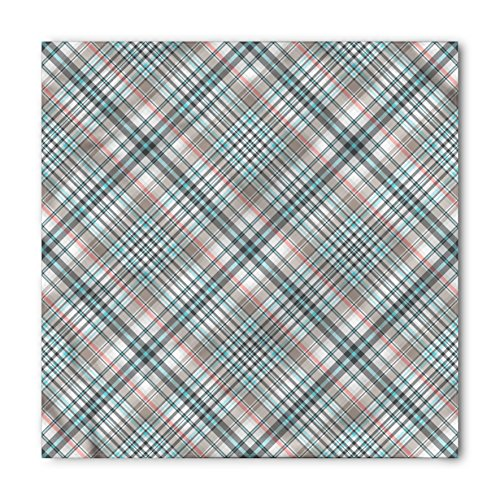 Ambesonne Unisex Bandana, Checkered Traditional Plaid, Blue Pink