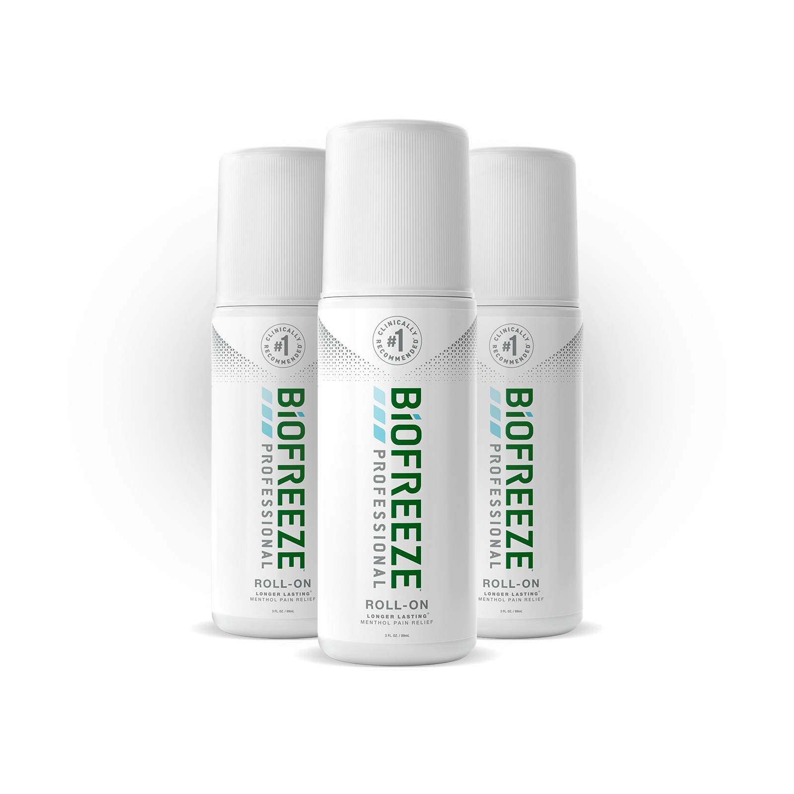 Biofreeze Professional Roll-On Pain Relief Gel, 3 oz. Bottle, Green, Pack of 3 (Package may vary) by Biofreeze