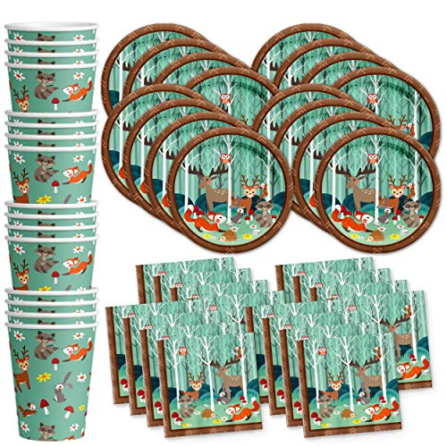 Woodland Animals Birthday Party Supplies Set Plates Napkins Cups Tableware Kit for 16]()